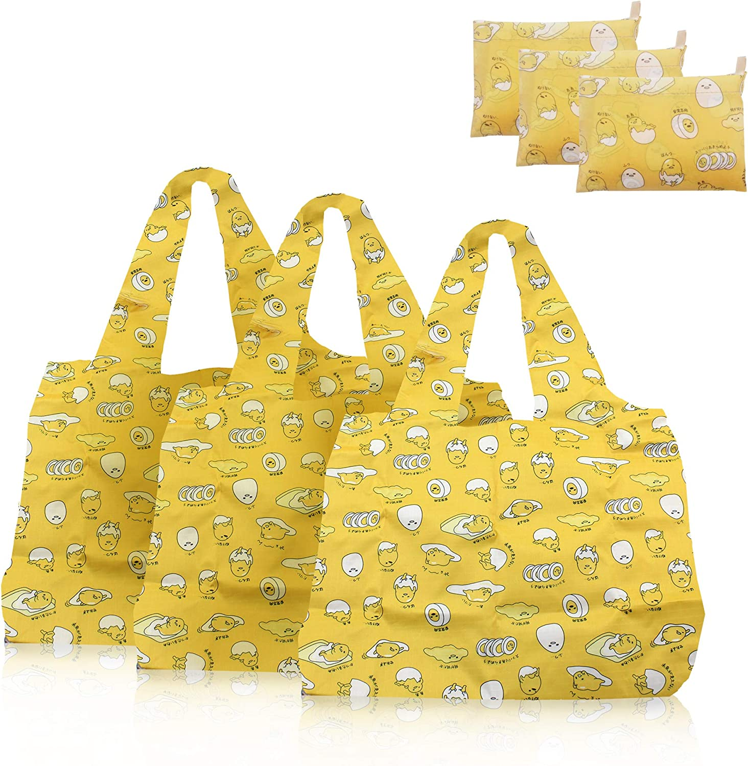 Finex 3 Pieces Set Cartoon Foldable Reusable Tote Recycle Grocery Shopping Bag