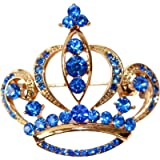 Navachi 18k Gold Plated Multicolor Crystal Royal Crown Brooch Pins