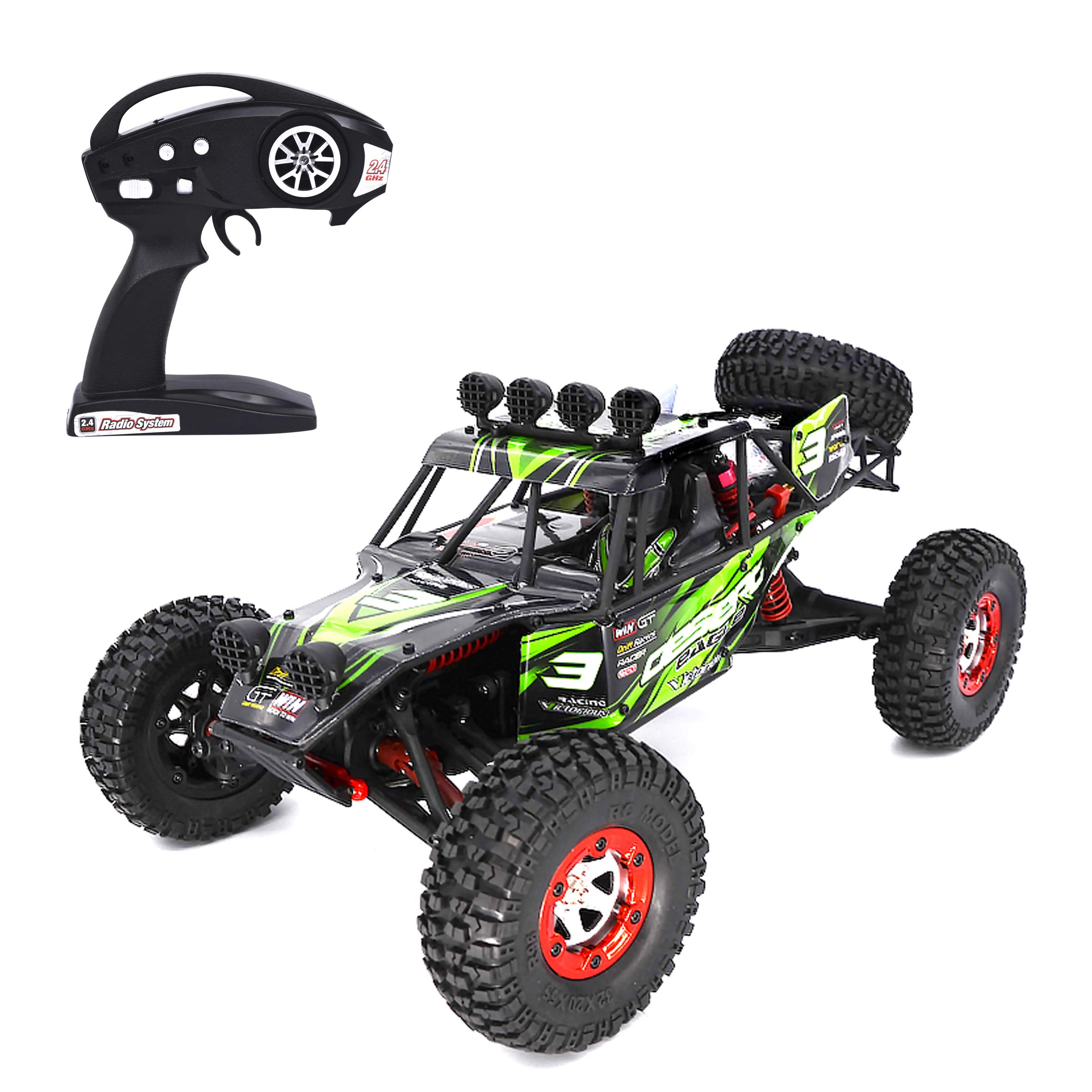 KELIWOW Electric RC Buggy 1/12 Remote Control Car 2.4Ghz 4WD Desert Off-Road Truck 40KM/h High Speed All Terrain RC Rock Crawler Monster Car for Kids and Adults-Green