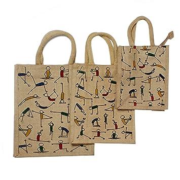 ef719ead92 Buy AV Combo of 3 Natural Jute Burlap Multipurpose Grocery Zip Bag &  Printed Yoga Jute Bag   Lunch Bag   Multipurpose Bag for Women and Men  Online at Low ...