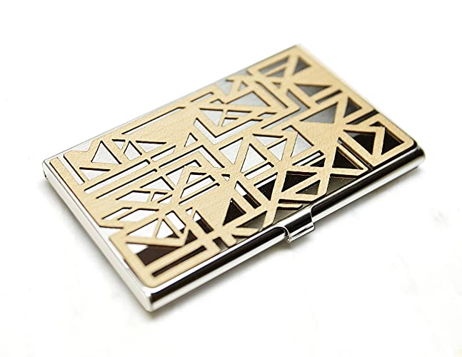 Amazon gold and grain detroit wood business card case gold and grain detroit wood business card case stainless steel slim credit card id colourmoves