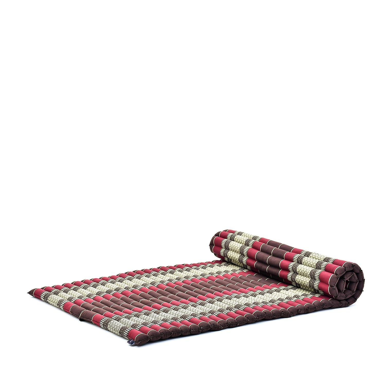 Leewadee Roll-Up Thai Mattress Guest Bed Yoga Floor Mat Thai Massage Pad XL Twinsize Eco-Friendly Organic and Natural, 79x41x2 inches, Kapok, Brown ...