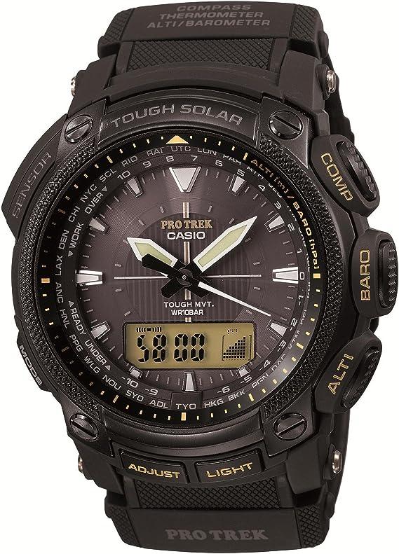 [カシオ] 腕時計 プロトレック 世界6局電波対応ソーラーウォッチ Multiband6 マルチバンド6 トリプルセンサー搭載 耐低温仕様(-10℃) モデル アナログ PRW-5050L-1JF ブラック