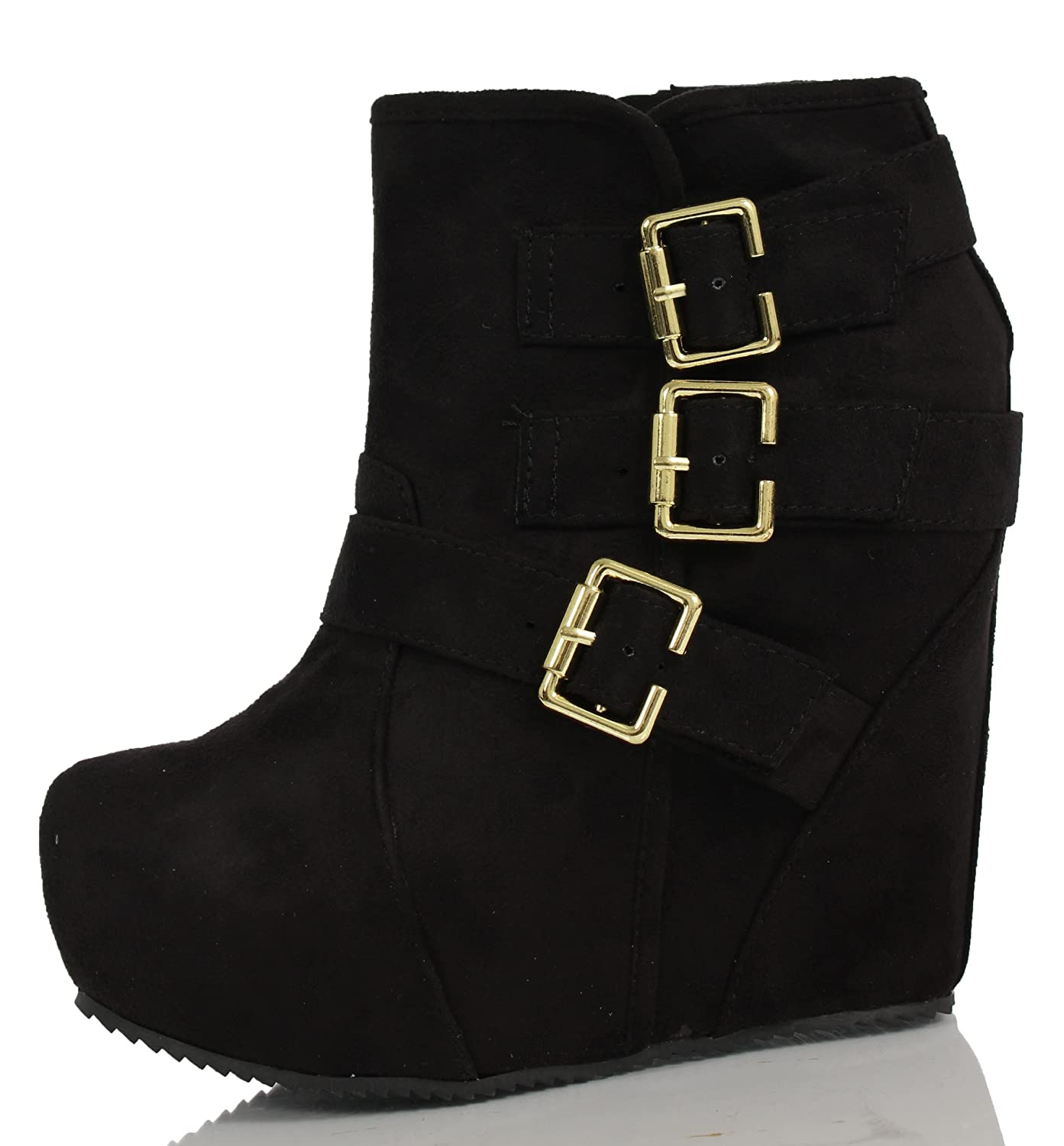 Amazon.com | High Platform Wedge Heel Lace up High Top Ankle Boot ...