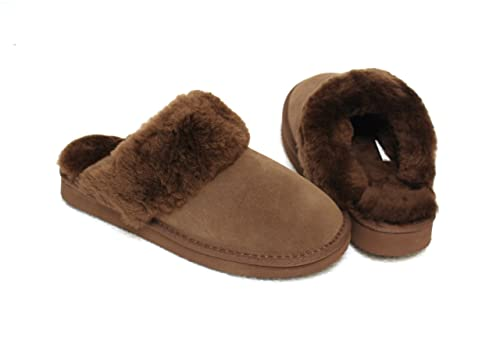 27bf673a94 Lammfell Pantoffel Slipper Damen Hausschuhe grau mit beigen Fell mit  Comfort Sohle - sehr warm (