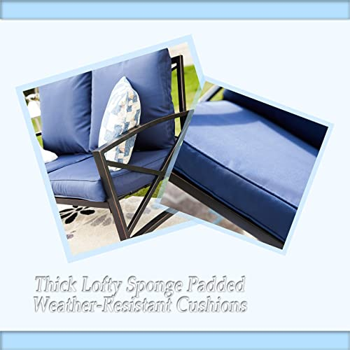 PatioFestival Outdoor Conversation Set Patio Furniture Sets Modern Metal Padded Sofa Sectional w/Loveseat