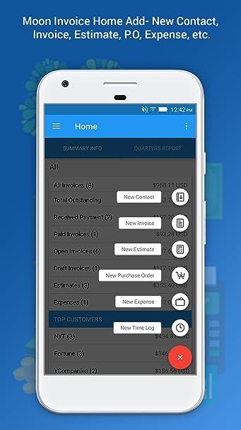Amazoncom Moon Invoice Easy Invoicing Accounting App Appstore - Moon invoice