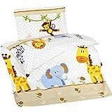 Aminata Kids – bunte Bettwäsche 100x135 cm Kinder Jungen Mädchen Tiere Baumwolle + Reißverschluss Zootiere Elefant Giraffe Affe Tiermotiv Kinderbettwäsche Babybettwäsche Bettbezug Kinderbettgröße