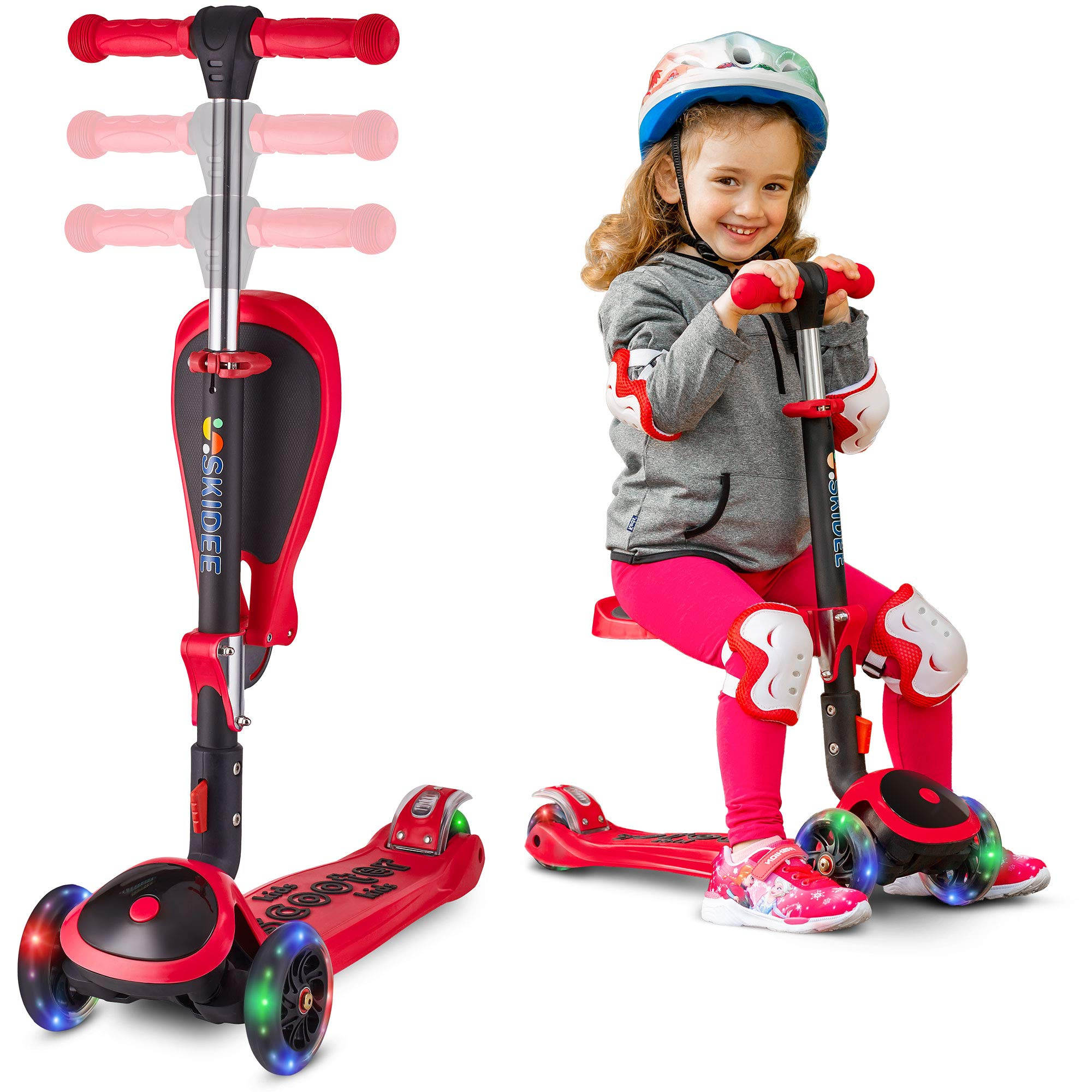 SKIDEE Scooter for Kids with Folding Seat – 2-in-1 Adjustable 3 Wheel Kick Scooter for Toddlers Girls & Boys – Fun Outdoor Toys for Kids Fitness, Outside Games, Kid Activities – Y200 (Red, Scooter)