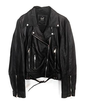 Zara Femme Blouson de motard en cuir 5479/001 (X-Small)