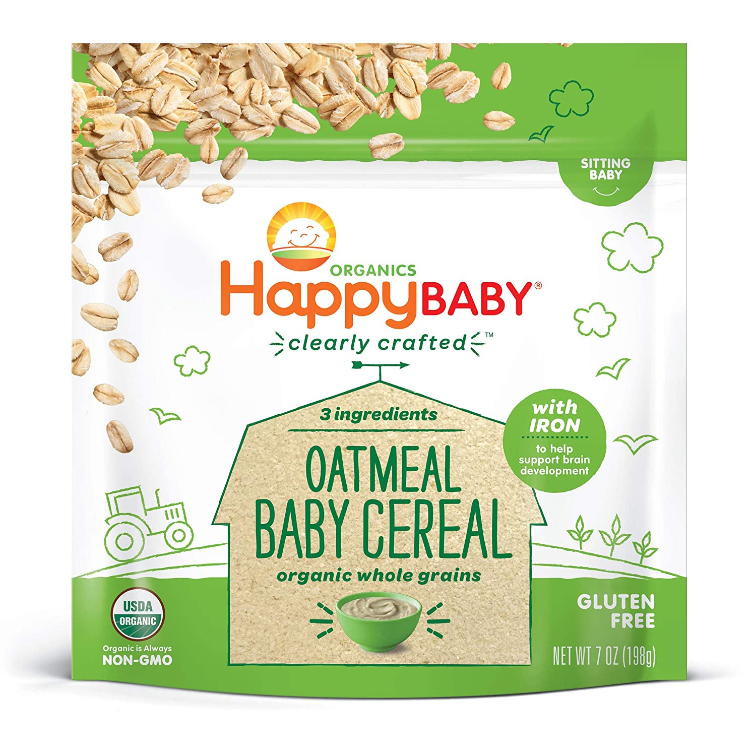 Happy Family Happy Baby Organic Clearly Crafted Cereal Whole Grain, Oatmeal, 7 Oz
