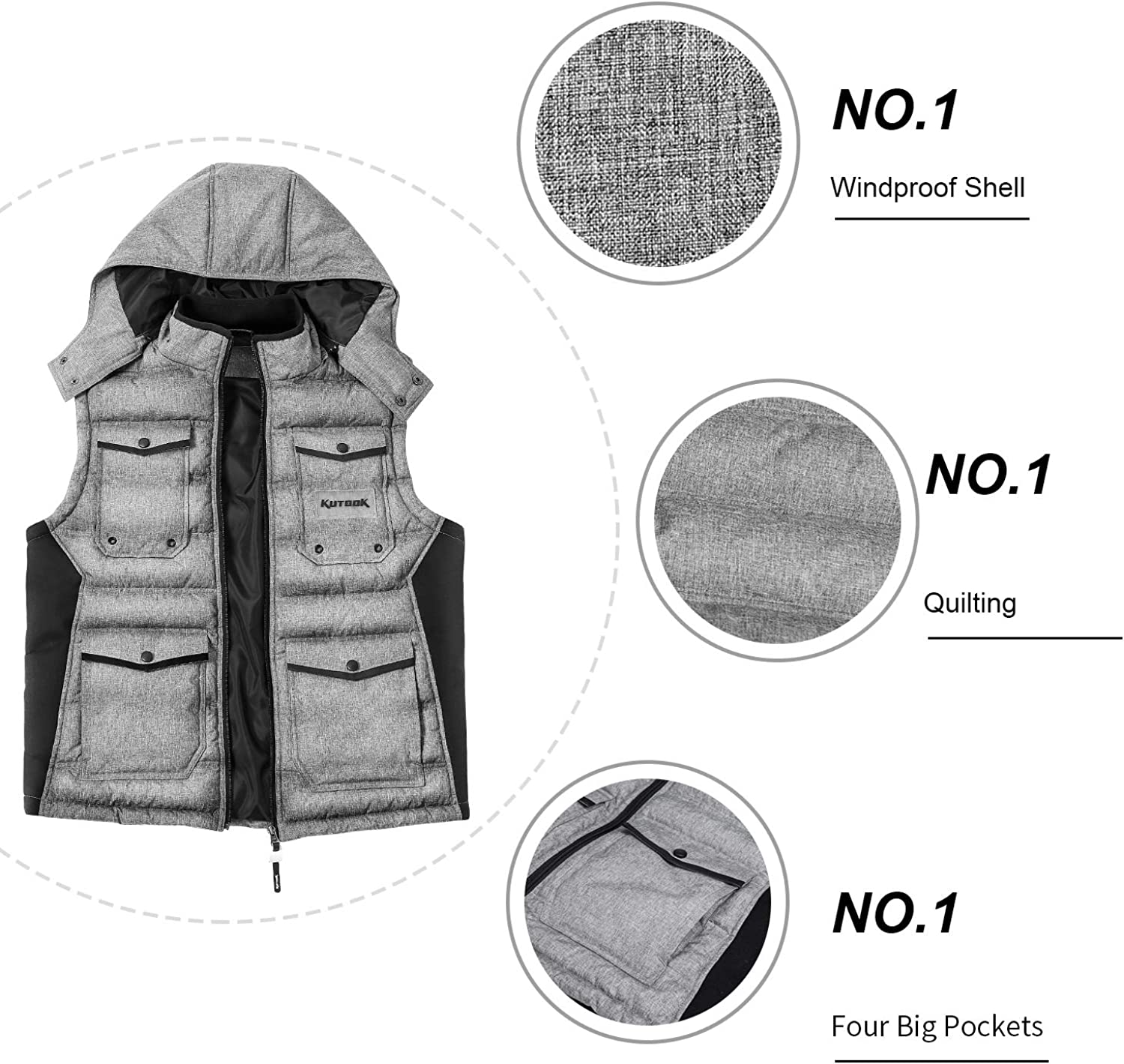 Kutook Mens Puffer Vest Windproof Stand Collar Sleeveless Quilted Jacket Removable Hood with Multiple Pockets