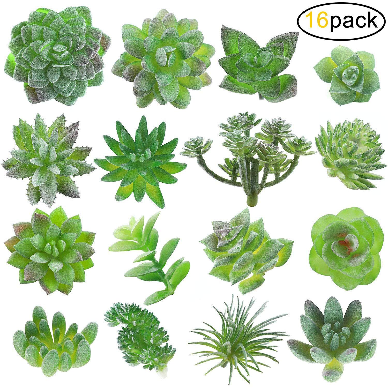 Childom Artificial Succulents Plants Flowers, Mini Assorted Picks Faux Succulent Unpotted Decor Stems Fake Succulents for Birthday Home Decor Indoor Wall Garden DIY, Pack of 16 Pcs