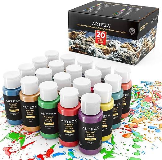 Arteza Peinture Acrylique D Extérieur Lot De 20 Couleurs Tubes 59 Ml 2 Oz Avec Boîte De Rangement Pigments Riches Peintures Multi Surfaces Pour