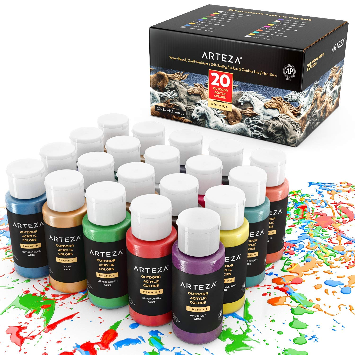 ARTEZA Outdoor Acrylic Paint, Set of 20 Colors/Tubes (59 ml, 2 oz.) with Storage Box, Rich Pigments, Multi-Surface Paints for Rock, Wood, Fabric, Leather, Paper, Crafts, Canvas and Wall Painting by ARTEZA