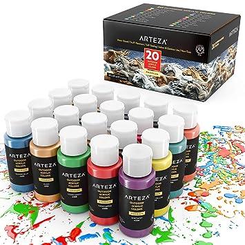 ARTEZA Peinture Acrylique Du0027extérieur, Lot De 20 Couleurs/tubes (59 Ml