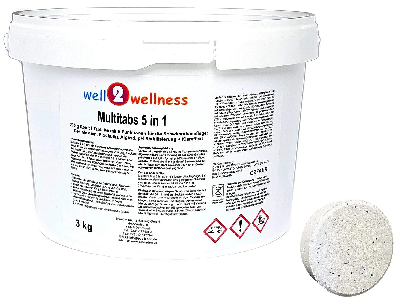 well2wellness Chlor Multitabs 5 in 1 200g mit 96% Aktivchlor - 3, 0 kg [Pool] + Sauna Bräunig GmbH