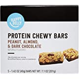 Amazon Brand - Happy Belly Protein Chewy Bars, Peanut, Almond and Dark Chocolate, 5 Count