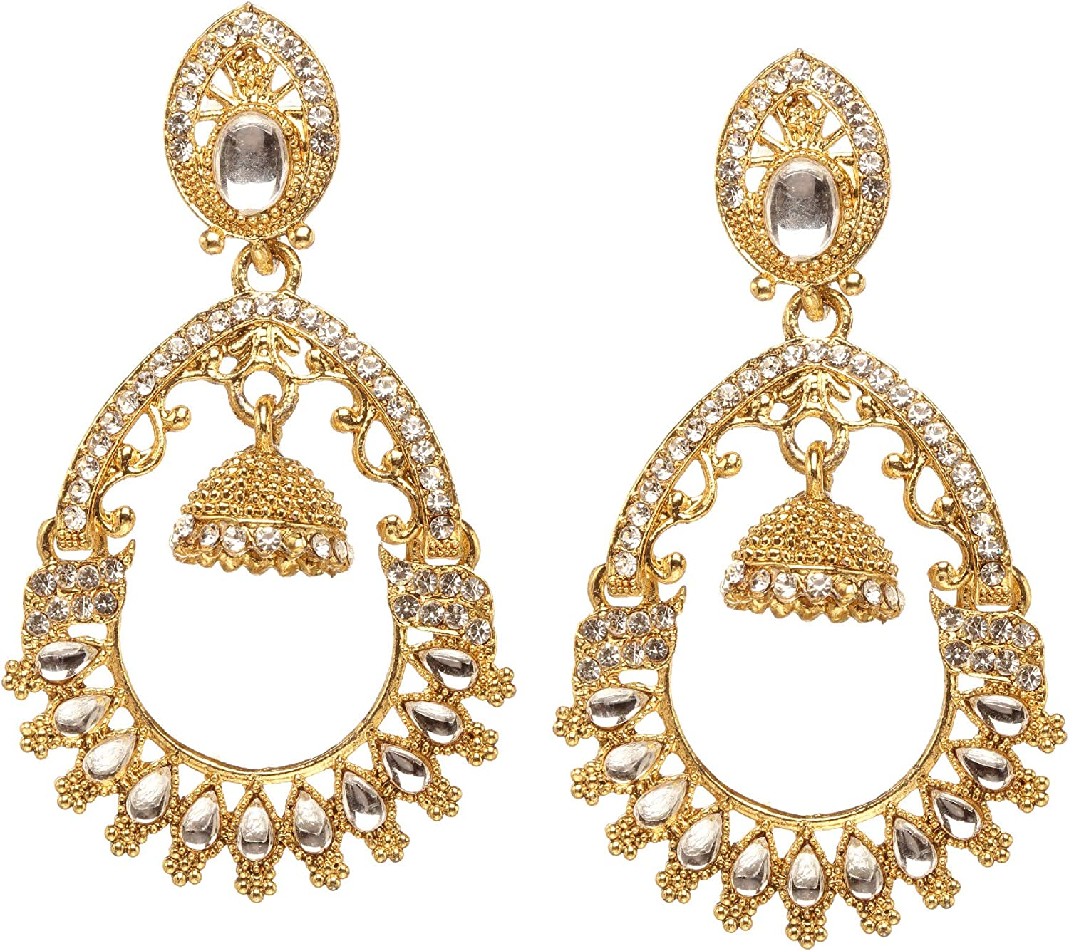 Ethnic Indian Bollywood Gold Plated Earrings Women Traditional Jewelry