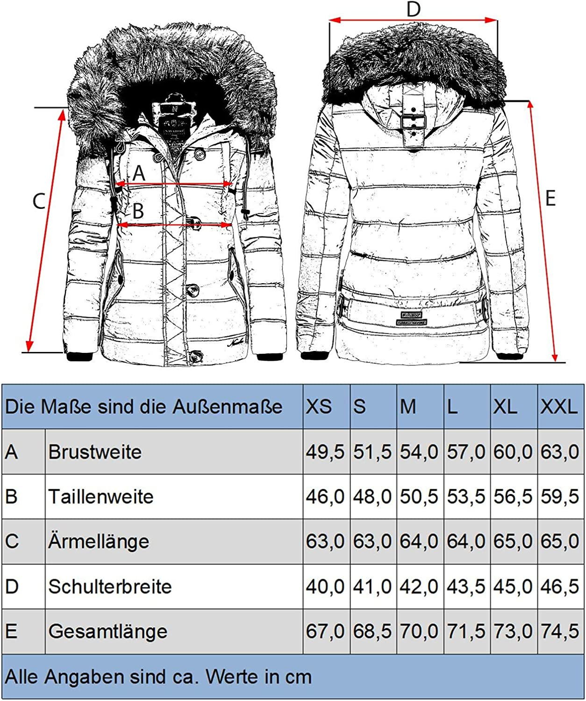 Giacca invernale trapuntata da donna con pelliccia sintetica rimovibile Zoja XS-XXL Navahoo