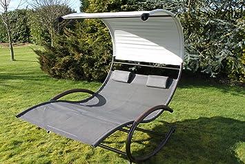 Olive Grove Fauteuil à bascule style transat pour jardin 2 places ...