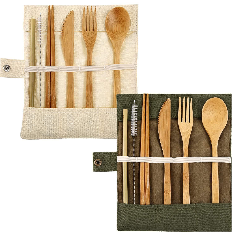 Tatuo 2 Set Bamboo Cutlery Flatware Set Bamboo Travel Utensils Include Reusable Knife Fork Spoon Chopsticks Straws
