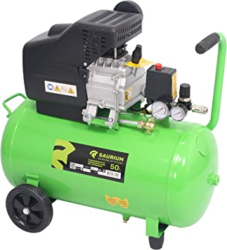 SAURIUM - Compresor de Aire - Monobloco - 50L 1.5HP - - Cabeza de ...