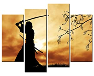 SmartWallArt - Figure Paintings Wall Art Bushido Spirit Illustration Japanese Warriors Samurai 4 Panel Picture Print on Canvas for Modern Home Decoration