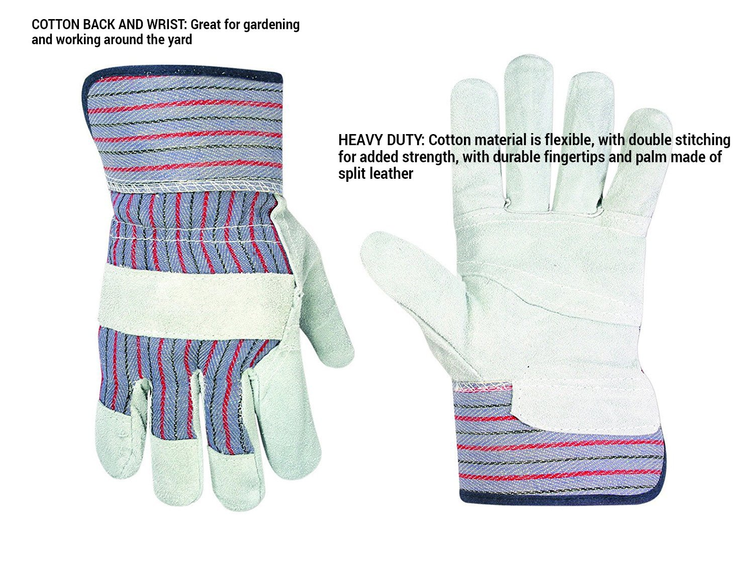 Custom Leathercraft 2046 Work Gloves with Safety Cuff and Wing Thumb, 1-Pair 3