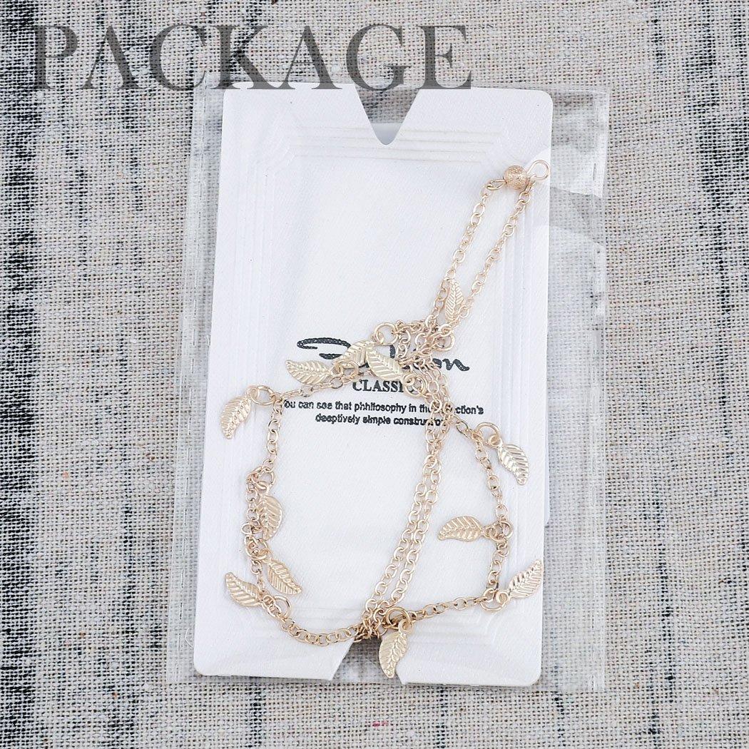 Jovono pendantes Bracelet de cheville Cha/îne de pied de plage avec feuilles et perles pour femmes et filles