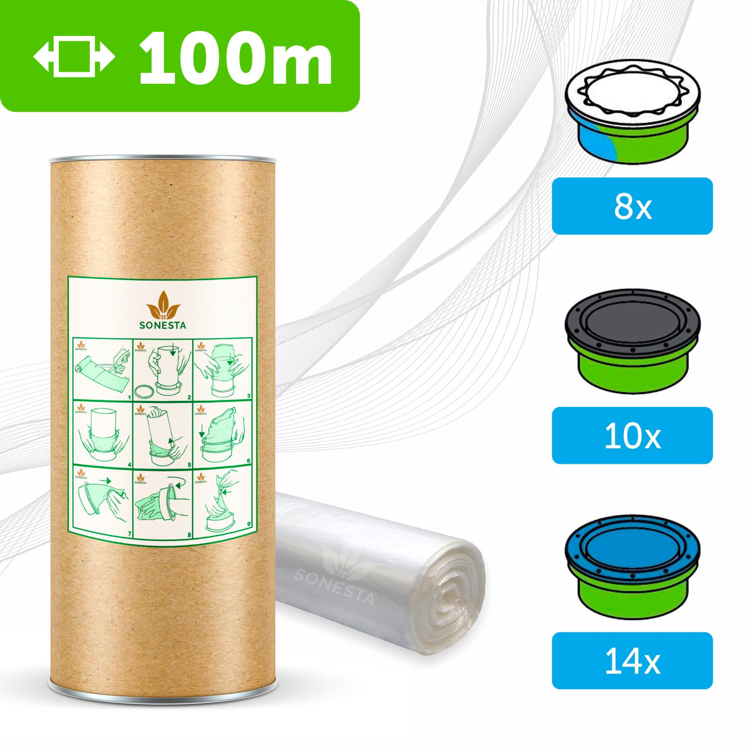 100m - ECO liner compatible with Tommee Tippee Sangenic cassettes | Angelcare | Litter Locker II | Equivalent to 8 Sangenic