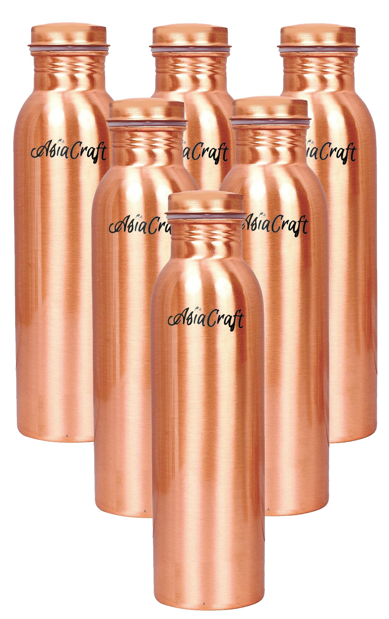 AsiaCraft 100% Pure Handmade Copper Bottle Leak Proof, Lacquer Coat, 1 Liter, Set Of 6 | Yoga Water Bottle