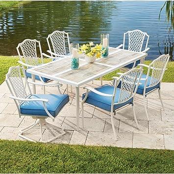 Alveranda 7 Piece Metal Outdoor Dining Set With Periwinkle Cushions