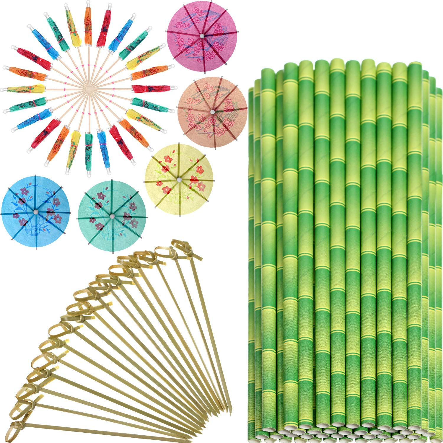 200 Pieces Tropical Hawaiian Party Drink Decorations, Include 50 Pieces Bamboo Print Paper Drinking Straws, 50 Pieces Cocktail Umbrella Picks, 100 Pieces Bamboo Knot Picks Skewers (Color 1)