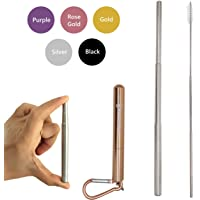Bestie Online Reusable Collapsible Straw with Metal Case, Cleaning Brush & Hook (Rose Gold Color with Silver Straw)