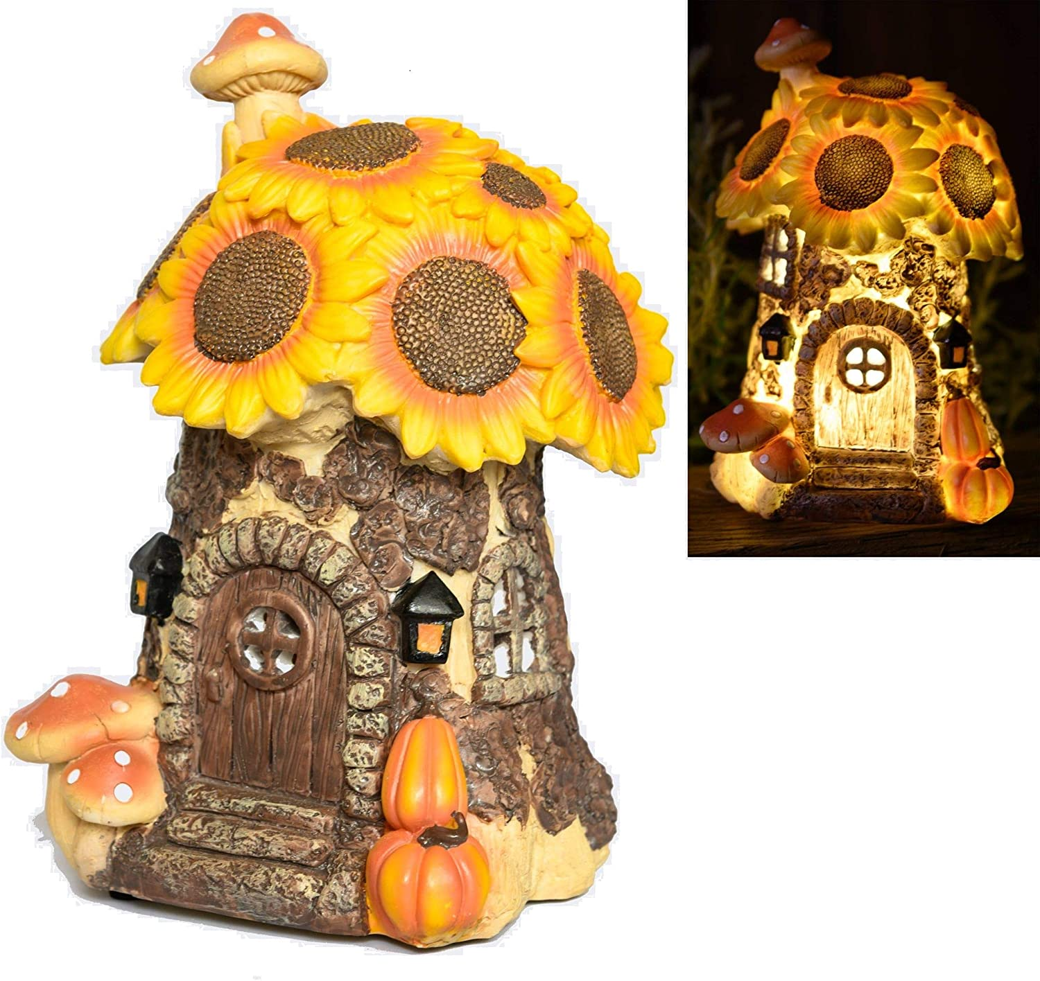 HV Hall View Products Hand Painted Fairy Garden House, Sunflower Toadstool and Pumpkin Style with Solar Powered Led Illumination