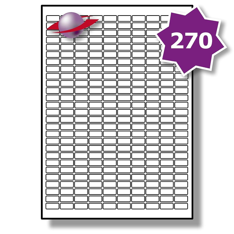 270 Par Foglio, 10 Fogli, 2700 Etichette. Label Planet® Etichette di Carta Bianca A4 per Stampanti a Getto d'Inchiostro e Laser 17.8 x 10mm, LP270/18.