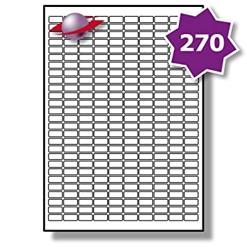 picture relating to Small Printable Labels identified as 270 For each Web site/Sheet, 50 Sheets (13500 Sticky Minimal MICRO Labels), Label Planet® White Blank Matt Self-Adhesive Simple A4 Stickers, Printable With