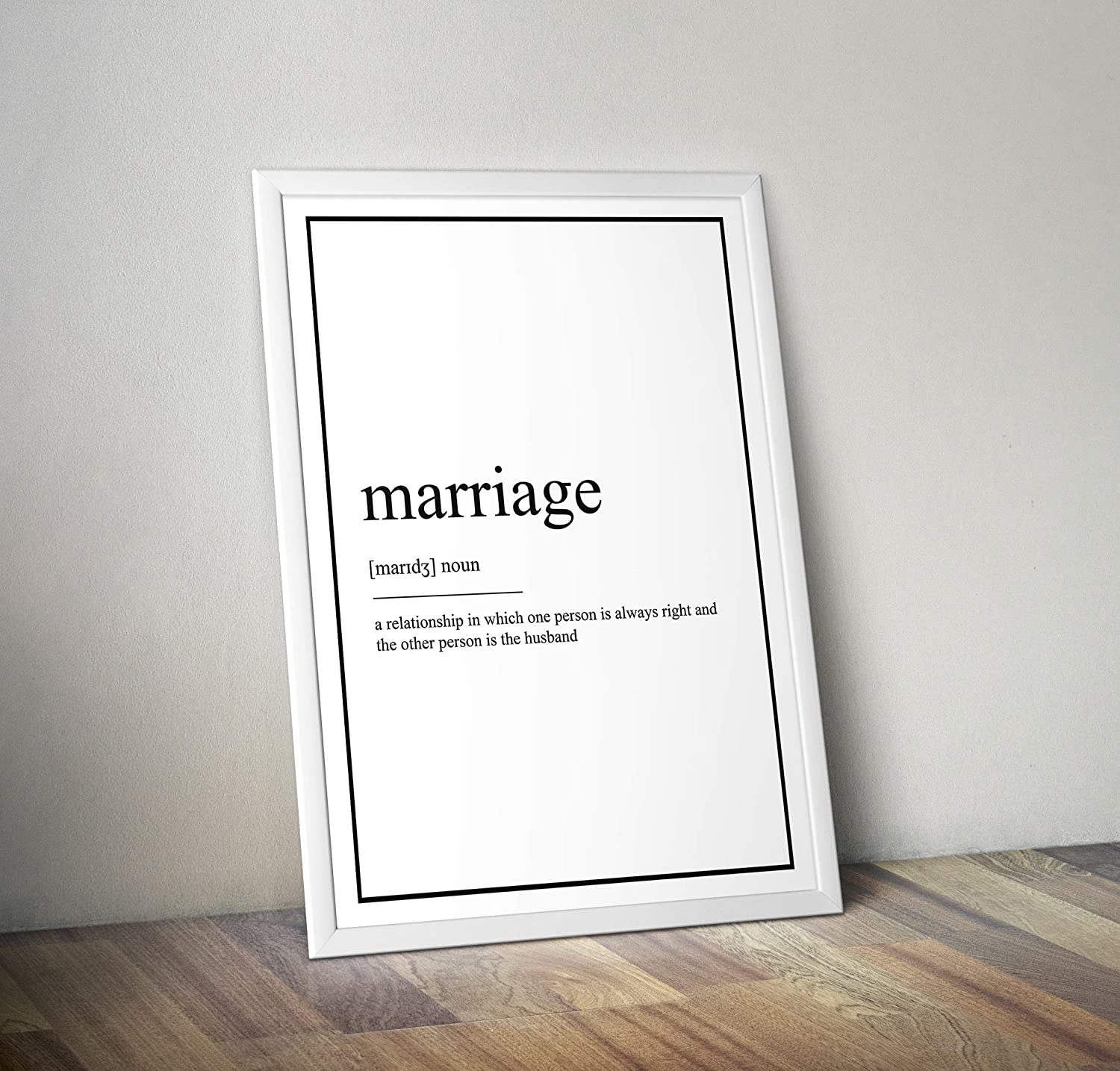 Poster Marriage Inspired definition Frame Not Included Print typography print various Sizes