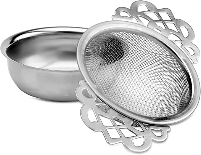 Single Arm Tea Strainer Sifter Loose Tea Drip Stainless Steel Infuser Kitchen BL
