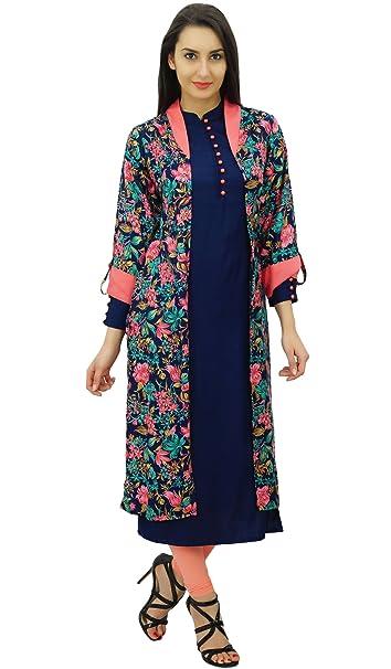 Bimba 2 Pcs Designer Floral Long Shrug Jacket With Straight Kurti