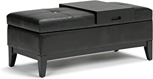 SIMPLIHOME Oregon 42 inch Wide Transitional Rectangle Lift Top Storage Ottoman Bench with Removable Tray, Upholstered Midnight Black Tufted Faux Leather, Footrest Stool, Coffee Table for Living Room