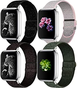 NOY Sport Watchband Compatible with Apple Watch Band 44mm/42mm/40mm/38mm, Stylish and Comfy Adjustable Nylon Loop Replacement Strap for iWatch Series 6/5/4/3/2/1
