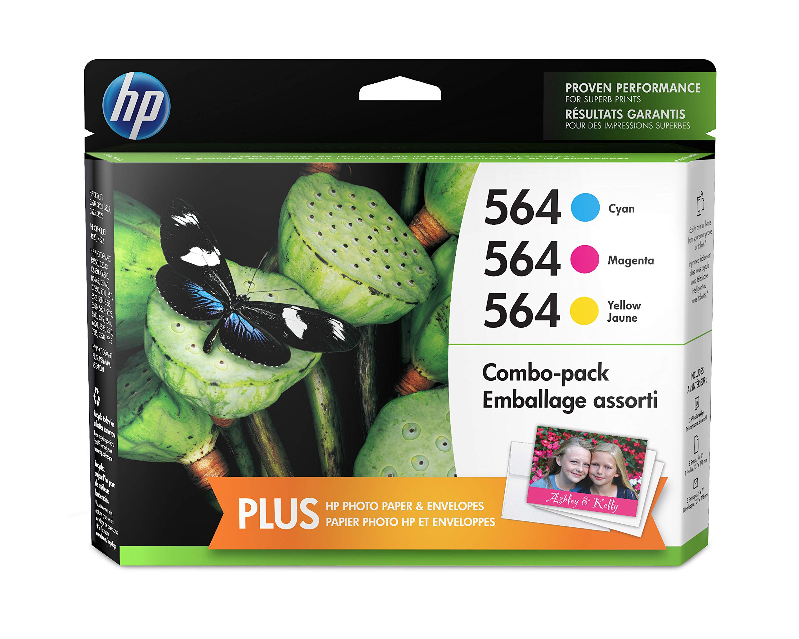 HP 564, 3 Cartridges with Photo Paper Cyan, Magenta, Yellow CB318WN, CB319WN, CB320WN