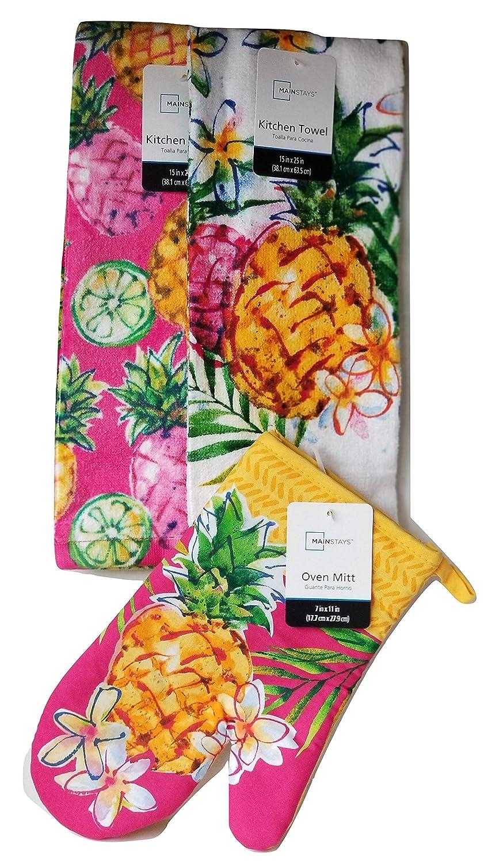 Pineapples Enjoy The Summer Days Kitchen Towels and Oven Mitt 3 Piece Kitchen Set