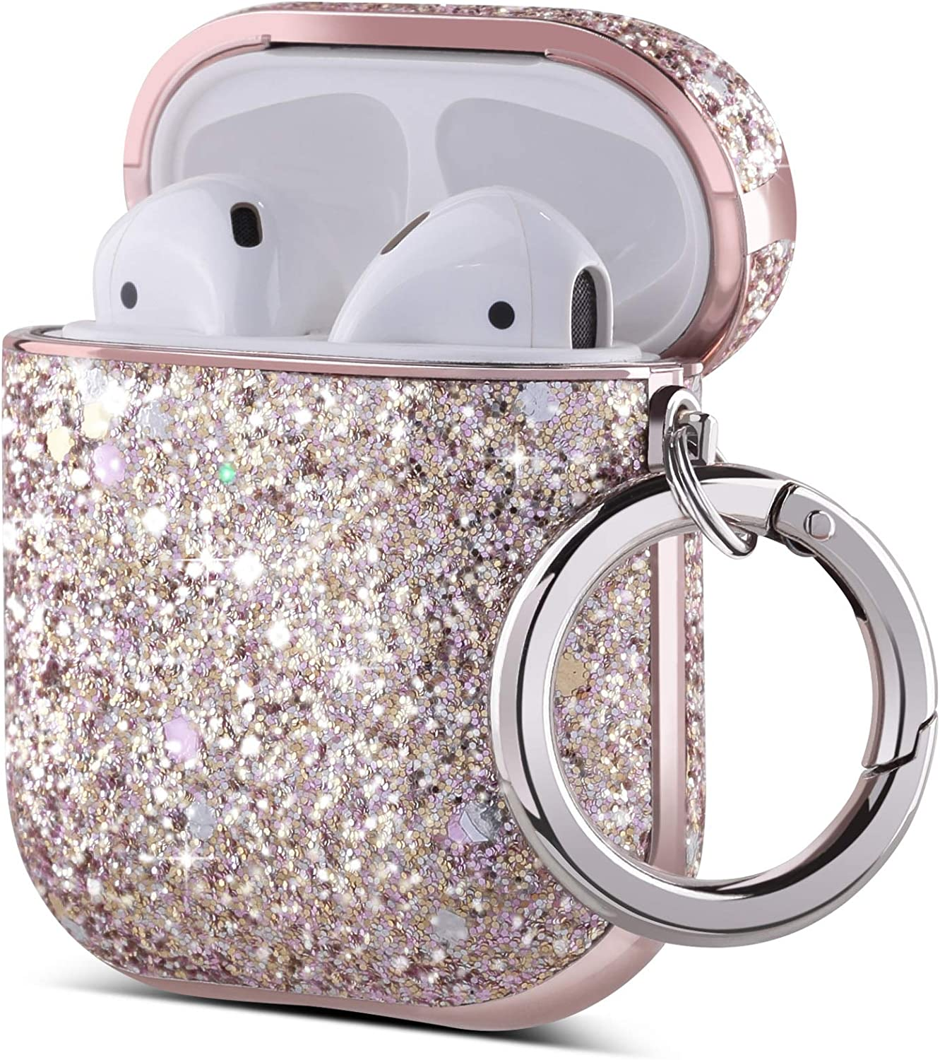 ULAK AirPods Case, Luxury Glitter Leather with Mirror Surface Plating Hard Cover,Shockproof Protective AirPod Accessories with Keychain for Apple AirPod Charging Case 2 & 1(LED Visible)(Pink Glitter)