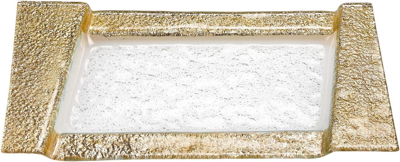 Badash EV50G Handcrafted Rimini Gold Color Glass Serving Tray: Home & Kitchen