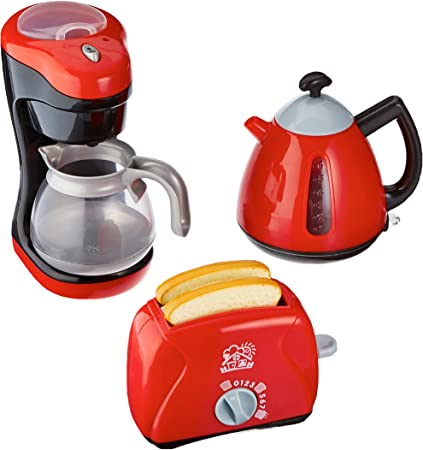 PlayGo Kitchen Chef Collection (My Toaster, Coffee Maker, Tea Time Kettle)  for Your Little Chef | Pretend Play Home Kitchen Appliances 3Piece Play Set  ...