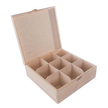 SEARCHBOX Caja de almacenaje de Madera sin Pintar, Organizador, Caja de té, 9
