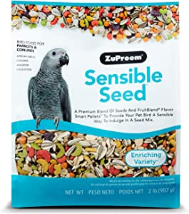 ZuPreem Sensible Seed Bird Food for Parrots & Conures - Premium Blend of Seeds, FruitBlend Pellets for Caiques, African Greys, Senegals, Amazons, Eclectus, Small Cockatoos
